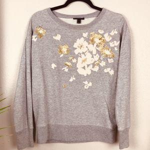 J. Crew Gold Embroidered Flower Grey Sweatshirt S